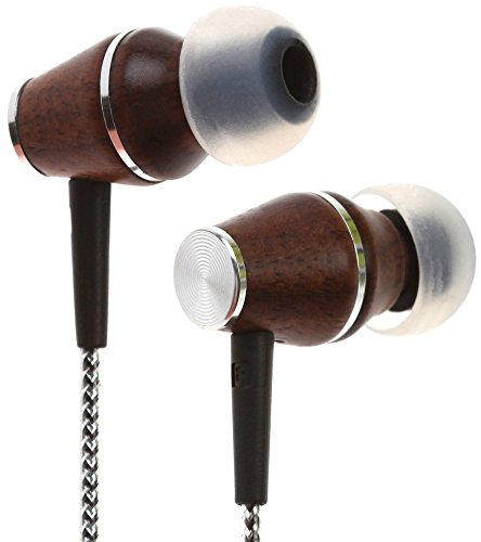 Symphonized XTC 2.0 Earbuds with Mic | Premium Genuine Wood Stereo Earphones | Hand-made In-ear Noise-isolating Headphones with Tangle-free Innovative Shield Technology Cable – Sinful Silver