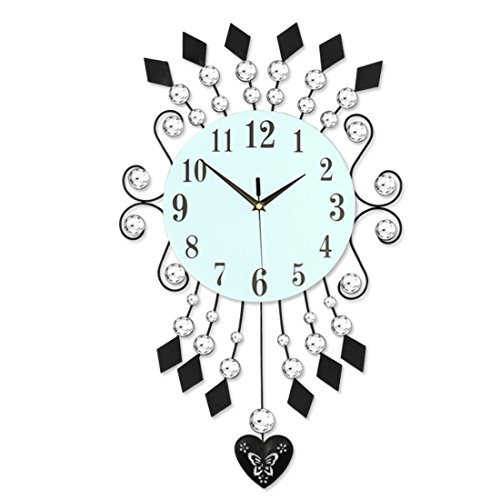 (Magshion 3D Decorative Crystal Iron Swing Mute Wall Clock W/Wall Hooks Large 27
