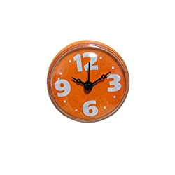 Fashion Waterproof Shower Clock,YZ Bathroom Kitchen Wall Suction Cup Clock,Water Resistant(Pointer type) (Orange)
