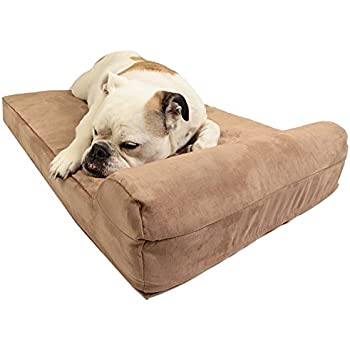"""Barker Junior - 4"""" Pillow Top Orthopedic Dog Bed with Headrest for Medium Size Dogs 30 - 50 Pounds"""
