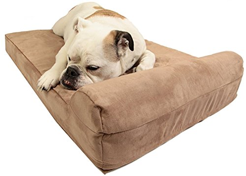 Barker Junior - 4' Pillow Top Orthopedic Dog Bed with Headrest for Medium Size Dogs 30-50 Pounds