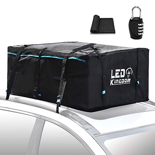 Roof Top Cargo Bag, 19cft 600D Oxford PVC Coating Waterproof Soft Shell Carrier Bag Car Storage for All vehicles and Truck Pickup works With/Without Rack - Prodective Mat, Straps & Hooks Included