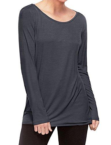 d Crew Neck Cotton-Blend Long Sleeve T-Shirt Top Gray XXXL ()