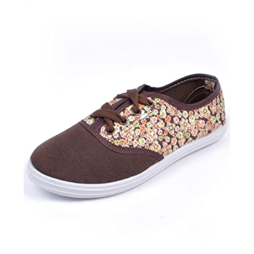 Women's Wild Flower Canvas Lace Up Skate Sneakers free shipping