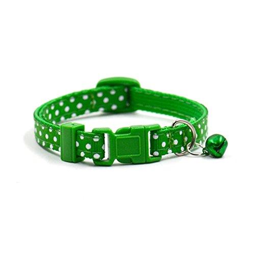 Pet Collars,Haoricu Collars Pet Supplies Polka Dot Cat Collars Pendant Necklace for Dog Adjustable Dog Collar Colliers (Green)