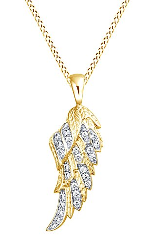 White Gold Round Angel Pendant - Round White Cubic Zirconia Angel Wing Feather Pendant Necklace In 14K Gold Over Sterling Silver