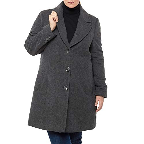 Alpine Swiss Alice Womens Plus Size Wool Overcoat Classic Notch Lapel Walking Coat Gry 3XL Gray
