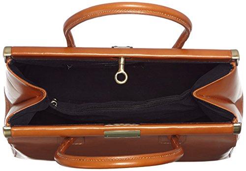 35x28x16cm et bandoulière CTM élégant en cuir Sac avec Cuoio véritable Orange poignées Femme Satchel wURUYqaP