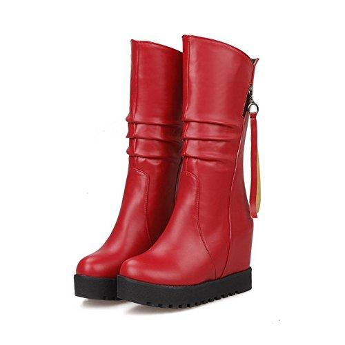 AllhqFashion Mujeres Puntera Redonda Sólido Caña Baja Cuña Botas con Metal Rojo