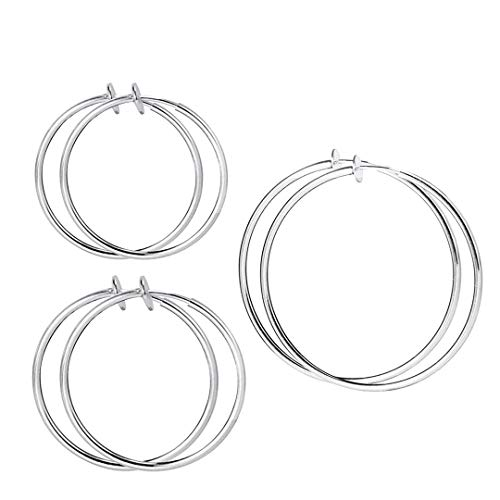 - HAISWET 13,20,30MM Stainless Steel Non Pierced Clip On Hoop Earrings 3 Pcs Jewelry Set Silver Tone