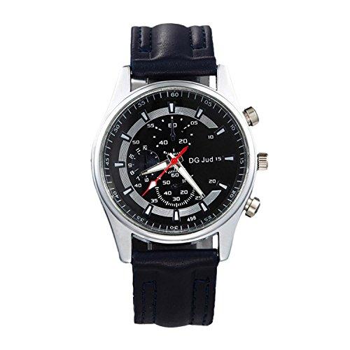 Goodfans Men Fashion Synthetic Leather Band Round Analog Quartz Wrist Watch Bracelet Bangle