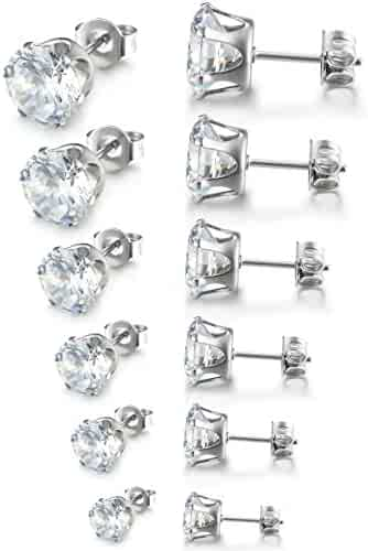 Besteel Womens Stainless Steel Stud Earrings Set Hypoallergenic Pierced Cubic Zirconia 6 Pairs 3-8mm