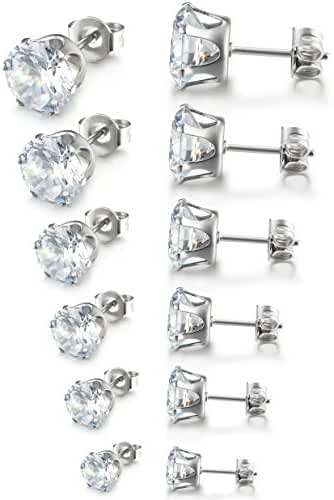 Besteel Women's Stainless Steel Round Clear Cubic Zirconia Stud Earrings Set for Women 3-8mm 6 Pairs