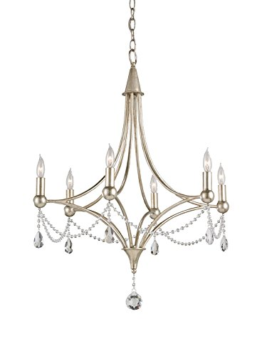 Currey and Company 9831 Etiquette - Six Light Chandelier, Chinois Antique Silver Leaf Finish