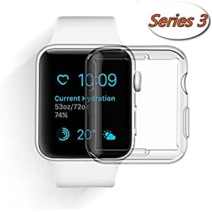 Apple Watch Case, Smilelane iwatch Screen Protector All-around 0.3mm Ultra-thin Soft Transparent Cover for apple watch Series 2/3 38mm