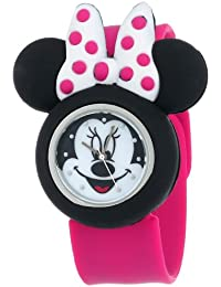 Minnie Mouse Kids' Analog Watch with Minnie Mouse Shape Case, Pink Strap - Official Disney Minnie Mouse Character on the Dial, Safe for Children - Model: MN1097