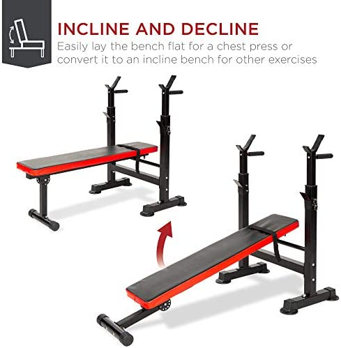 Best Choice Products Adjustable Folding Fitness Barbell Rack & Weight Bench Set for Home Gym, Strength Training w/Incline & Decline Capability, Padded Faux Leather, Easy Storage - Black/Red 4