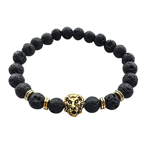 FEDULK Unisex 2019 New Fashion Black Lava Stone Lion Beads Bangle Charm Bangle Bracelets Jewelry(Gold, One Size) ()
