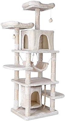 pedy Árbol Grande para Gatos, 170cm, Diseño Anticaídas, con Robusto Árbol Trepador, con Playhouse, Hamaca, Cueva, Pelota, para Gatitos, Gatos y Mascotas (Beige): Amazon.es: Productos para mascotas