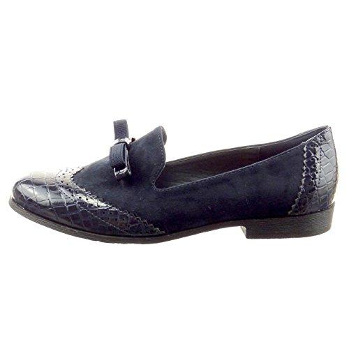Sopily - Scarpe da Moda Mocassini ballerina alla caviglia donna nodo pelle di serpente perforato Tacco a blocco 2 CM - Blu