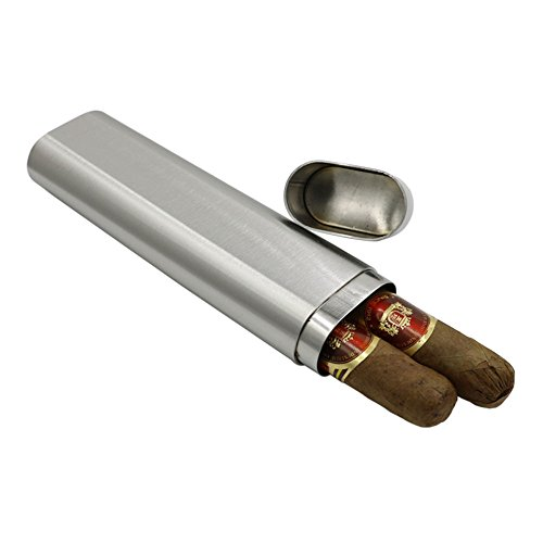 JUJOR Stainless Steel Cigar Case 2 Tube