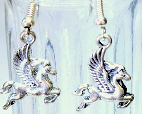 Silver tone Pegasus earrings -
