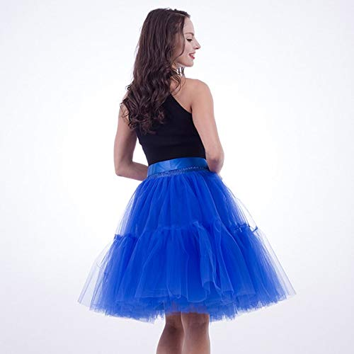 Royal bluee WHFDBZQ Petticoat 5 Layers 60Cm Tutu Tulle Skirt Vintage Midi Pleated Skirts Womens Lolita Bridesmaid Wedding