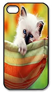 iPhone 4s Case and Cover -Kitten In A Hammock Custom PC Hard Case Cover for iPhone 4/4S Black