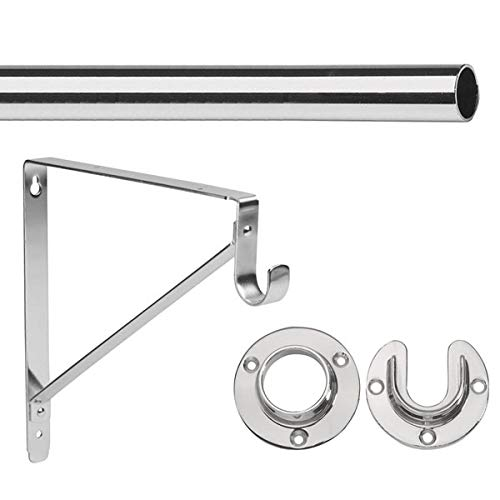 "- 8' Foot Lido Heavy Duty Closet Rod Kit - Chrome Finish - 1 5/16"" OD with 2 Wall Flanges & 1 Support Bracket"