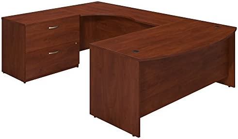 Bush Business Furniture Series C Elite 72W x 36D Left Hand Bowfront U Station Desk Shell with Lateral File in Hansen Cherry