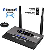 Giveet Long Range Bluetooth Latest V5.0 Transmitter Receiver 3 in 1 (TX/RX/Bypass), 265Ft Wireless Audio Adapter, aptX HD & Low Latency, Dual Link, Optical RCA AUX 3.5mm for TV PC Home Stereo