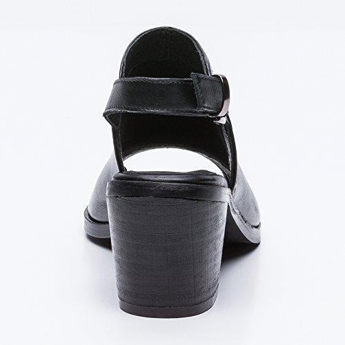 Bottine Femme pour Bottines Cuir Bottes Ouvertes en Sandales Femmes Noir Zerimar Été Femmes xCwnSvgqq8