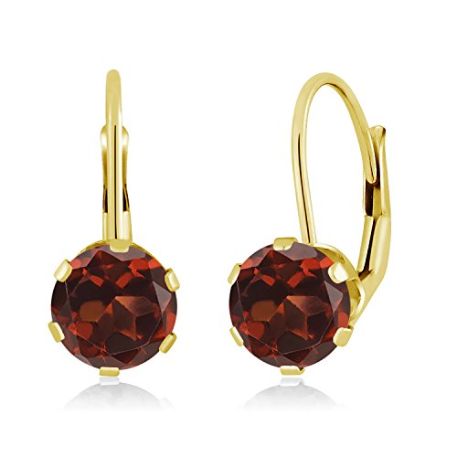 (Gem Stone King 14K Yellow Gold Red Garnet Women's Earrings 2.00 Ctw Gemstone Birthstone Round 6MM)