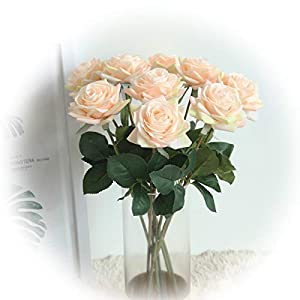 cn-Knight Artificial Flower Artificial Rose Blossom with Leaves Gel Coated Silk Flower for Wedding Bridal Bouquet Bridesmaid Home Décor Office Baby Shower Centerpiece,White 18