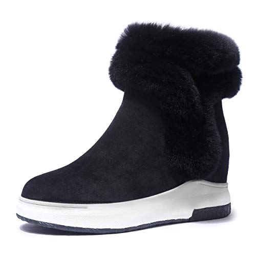 (Baronero Womens Snow Boots for Women,Wedge Winter Warm Faux Fur Ankle Boots Black US6)