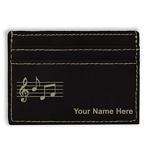 Money Clip Wallet, Music Staff, Personalized Engraving Included (Black)