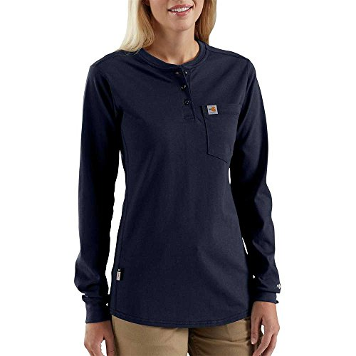 Flame Resistant Apparel (Carhartt Women's 102686 Women's Flame Resistant Force Cotton Long Sleeve Henley - Large - Dark Navy)