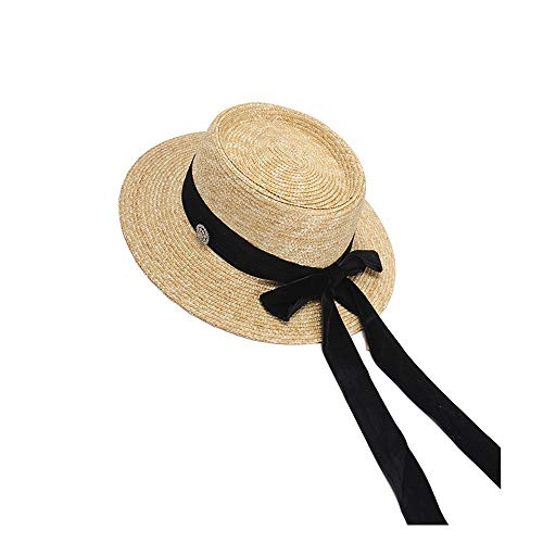 (FeliciaJuan Womens Summer Straw Hat Sun Hat Spring Summer Holiday Sun Hat Fashion Flannel Long Bow Wheat Straw Hat (Color : Black, Size : 56-58cm))
