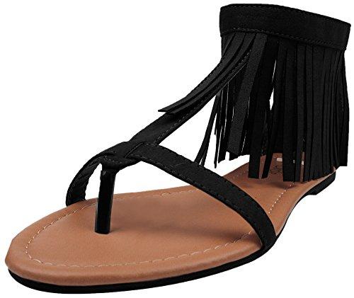 Enimay Womens Casual Jurk Moccasin Fringe Enkel T-strap Platte Sandalen Zwart