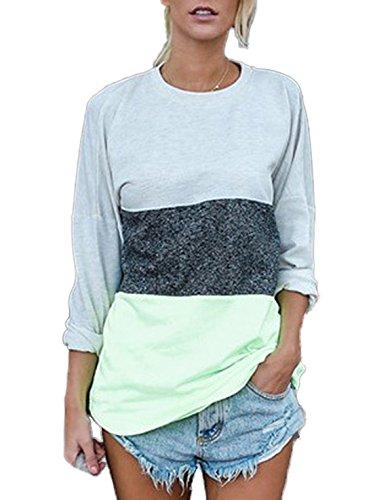 Casual Chemisiers Manches Col Lache Femmes Confort Irregulier Vert Longues Shirt Multicolore Haut Tops T Rond Epissure Blouse gznYqORFwn