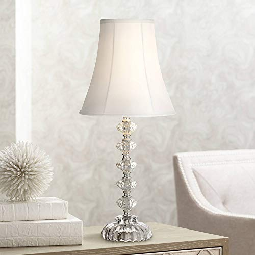Bohemian Cottage Accent Table Lamp Clear Stacked Glass Off White Bell Shade for Living Room Family Bedroom Bedside Office - 360 Lighting ()