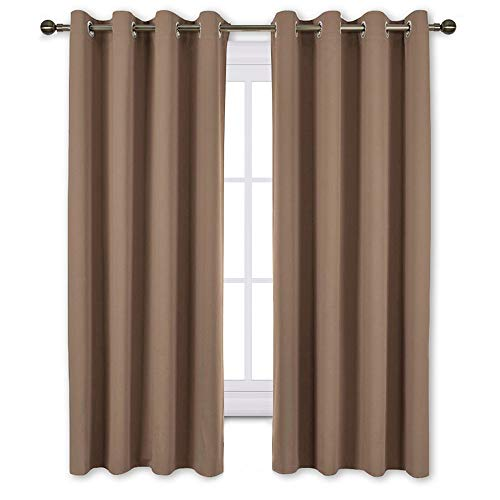 NICETOWN Bedroom Blackout Curtains and Drapes - Window Treatment Thermal Insulated Solid Grommet Blackout Draperies for Bedroom (Set of 2 Panels, 52 by 63 Inch, Cappuccino)