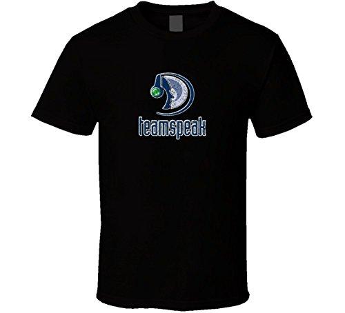 Teamspeak Online Gaming Fan Voice Chat Battle Distressed T Shirt L Black