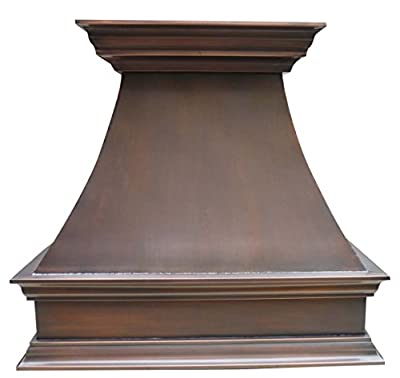 Copper Best H17 362127S Custom Copper Range Hood Cover with Stainless Steel Liner and Baffle Filter, High CFM Fan Motor Wall Mount Made of Solid Copper 36 x 27 inch