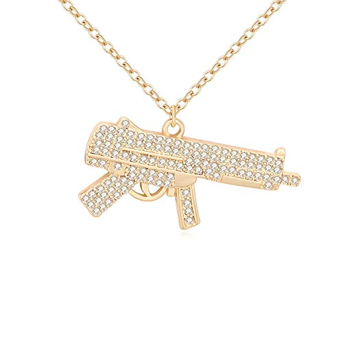 NOUMANDA Fashion Womens Mens Alloy Hip Hop Machine Gun Necklace Rifle 18 Inch Chain (Spring Submachine Gun)