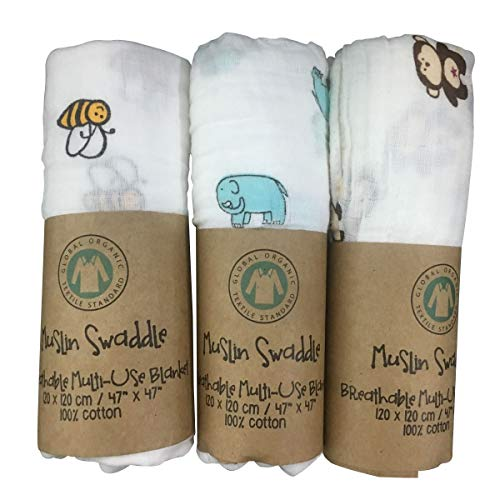 Waddleplus Baby Swaddle Blanket, 100% Cotton Muslin, Large 44 X 44 inch, 3 Pack, Baby Star -