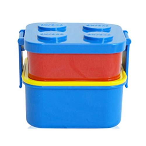 (2 Layer Stackable Lunch Box and 1 Fork Set, Bento Box Container Salad Box Oxford Block Brick Design For Children Kids Family Picnic Travel (Blue Cap 2 Layers) )