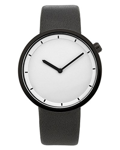 Top Plaza Mens Casual White Dial Grey PU Leather Band Analog Quartz Simple Watch 30M Waterproof
