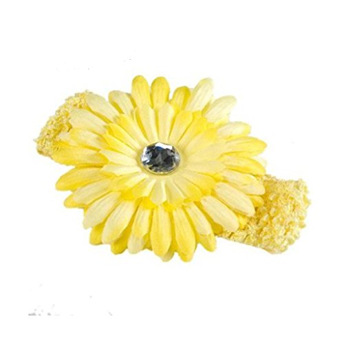 SBParts Girl Daisy Flower Elasticated Crochet Headband Hair Band -Yellow - Designer Diamante Pink Flower