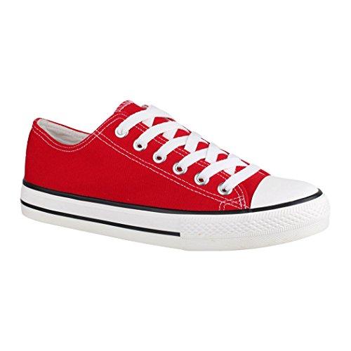 Low Damen Sneaker Herren Turnschuh Bequeme und Rot für Textil Unisex Top Elara Sportschuhe Schuhe F8XxqZZw